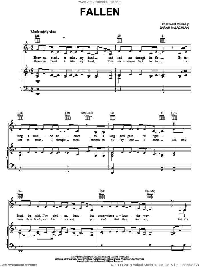 Fallen sheet music for voice, piano or guitar by Sarah McLachlan, intermediate voice, piano or guitar. Score Image Preview.