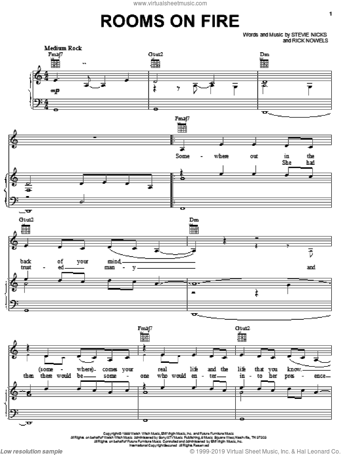 Rooms On Fire sheet music for voice, piano or guitar by Stevie Nicks and Rick Nowels, intermediate skill level