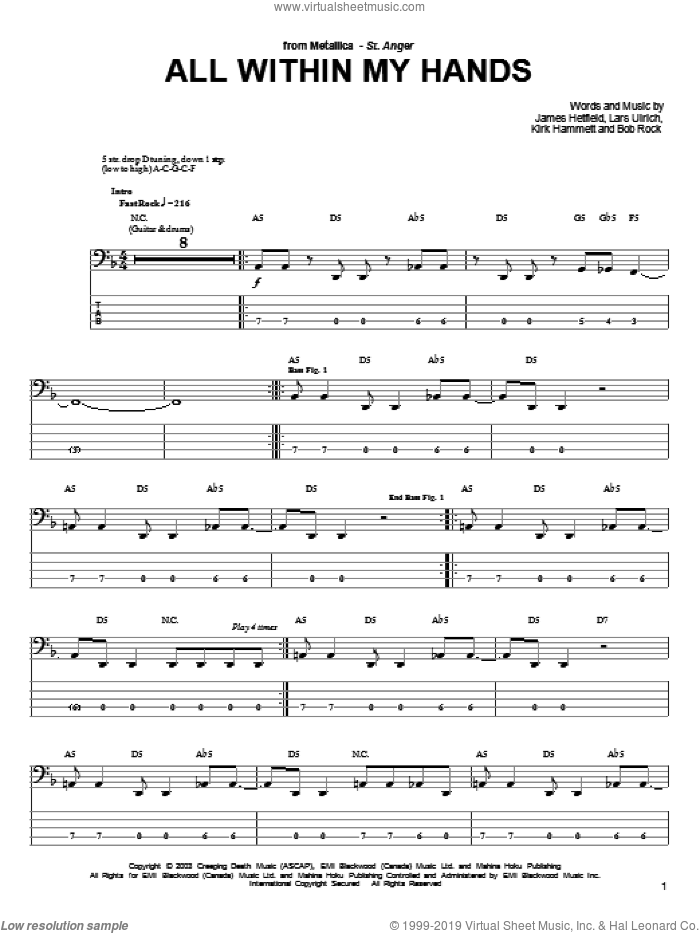 All Within My Hands sheet music for bass (tablature) (bass guitar) by Lars Ulrich, Metallica and James Hetfield