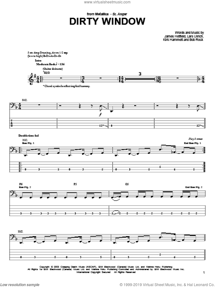 Dirty Window sheet music for bass (tablature) (bass guitar) by Lars Ulrich, Metallica and James Hetfield. Score Image Preview.