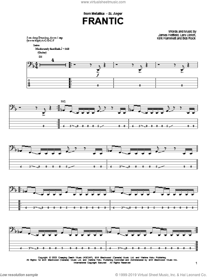 Frantic sheet music for bass (tablature) (bass guitar) by Metallica. Score Image Preview.