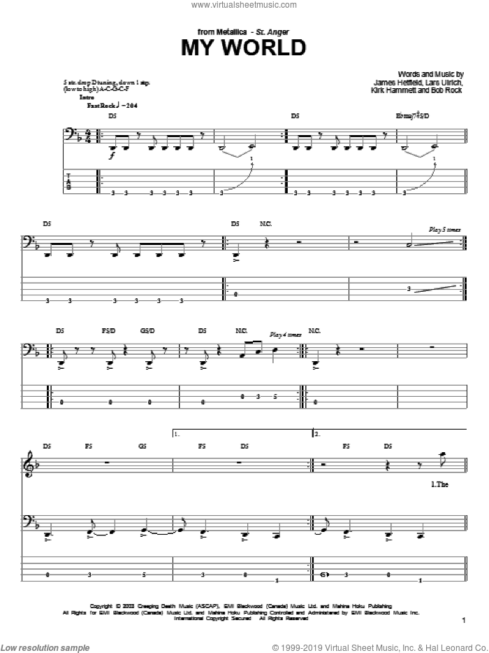 My World sheet music for bass (tablature) (bass guitar) by Lars Ulrich, Metallica and James Hetfield. Score Image Preview.