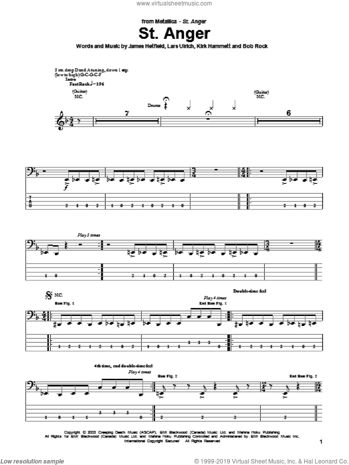 St. Anger sheet music for bass (tablature) (bass guitar) by Lars Ulrich, Metallica and James Hetfield. Score Image Preview.