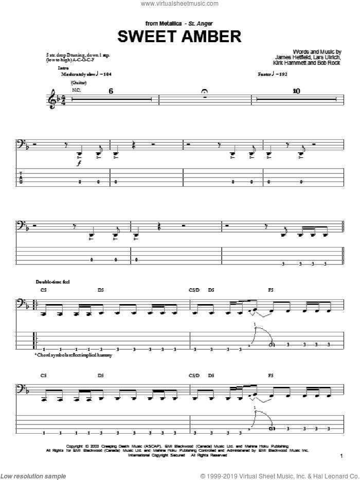 Sweet Amber sheet music for bass (tablature) (bass guitar) by Metallica, James Hetfield, Kirk Hammett and Lars Ulrich, intermediate skill level