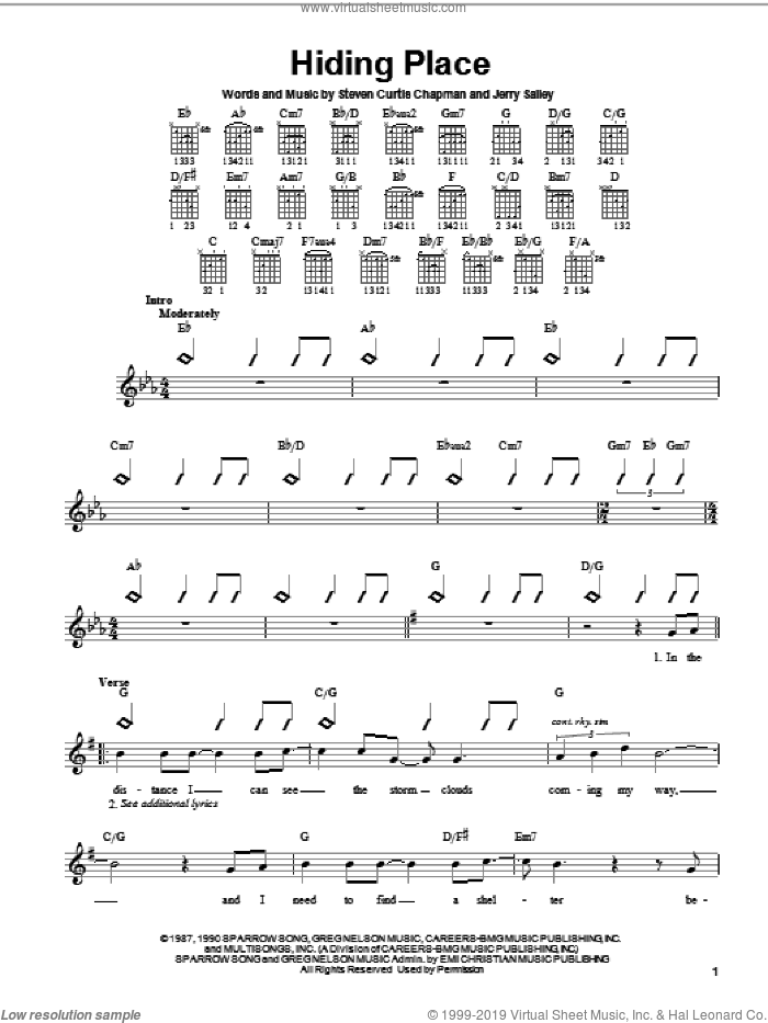Hiding Place sheet music for guitar solo (chords) by Jerry Salley and Steven Curtis Chapman. Score Image Preview.