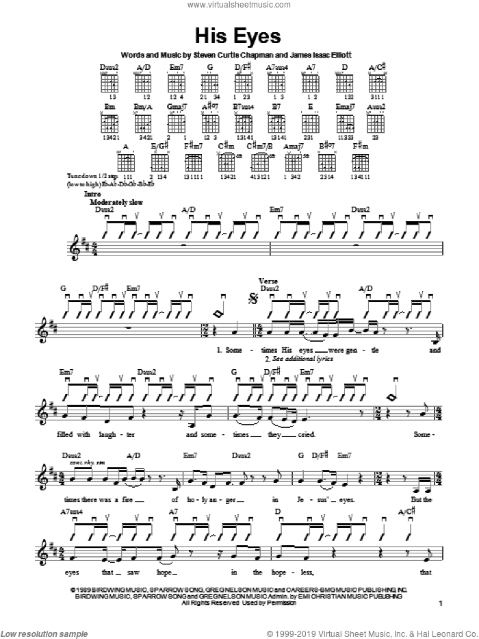 His Eyes sheet music for guitar solo (chords) by Steven Curtis Chapman, easy guitar (chords). Score Image Preview.