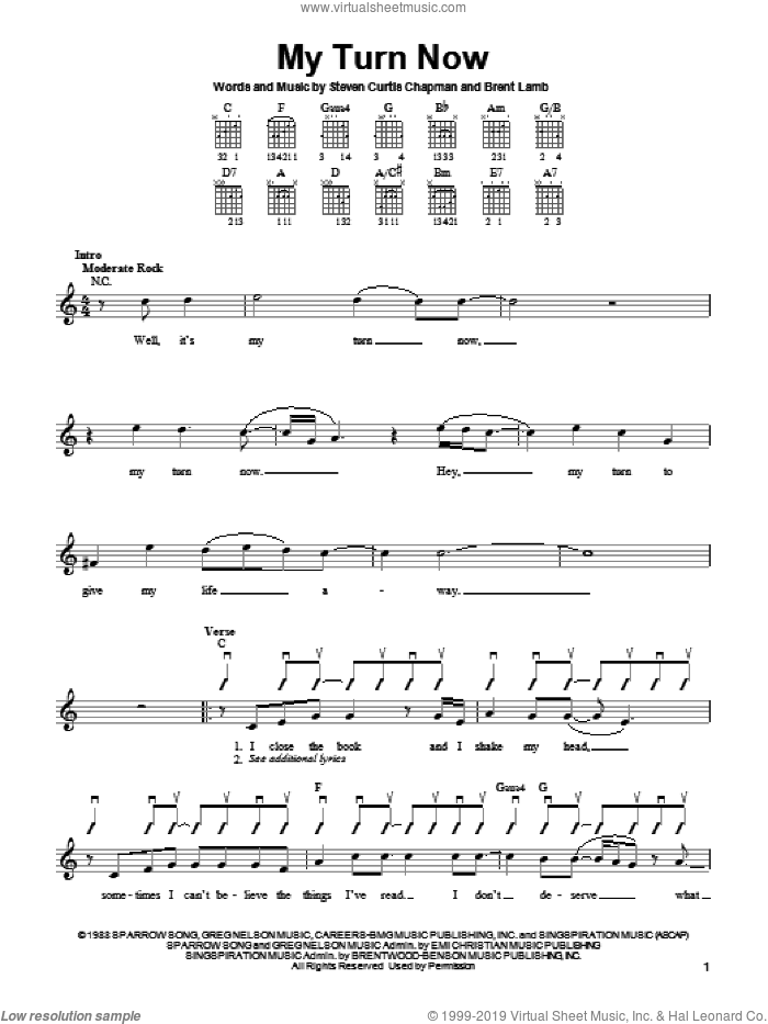 My Turn Now sheet music for guitar solo (chords) by Brent Lamb and Steven Curtis Chapman. Score Image Preview.