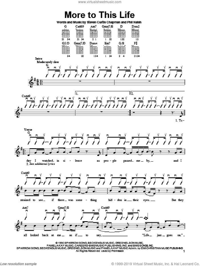 More To This Life sheet music for guitar solo (chords) by Steven Curtis Chapman, easy guitar (chords). Score Image Preview.