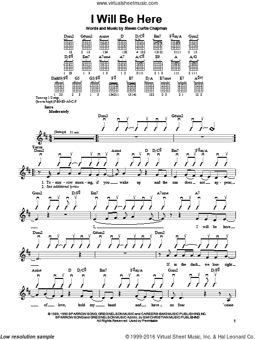 I Will Be Here sheet music for guitar solo (chords) by Steven Curtis Chapman. Score Image Preview.