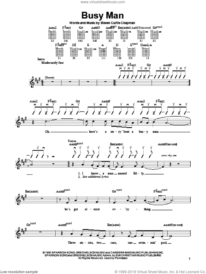 Busy Man sheet music for guitar solo (chords) by Steven Curtis Chapman, easy guitar (chords)