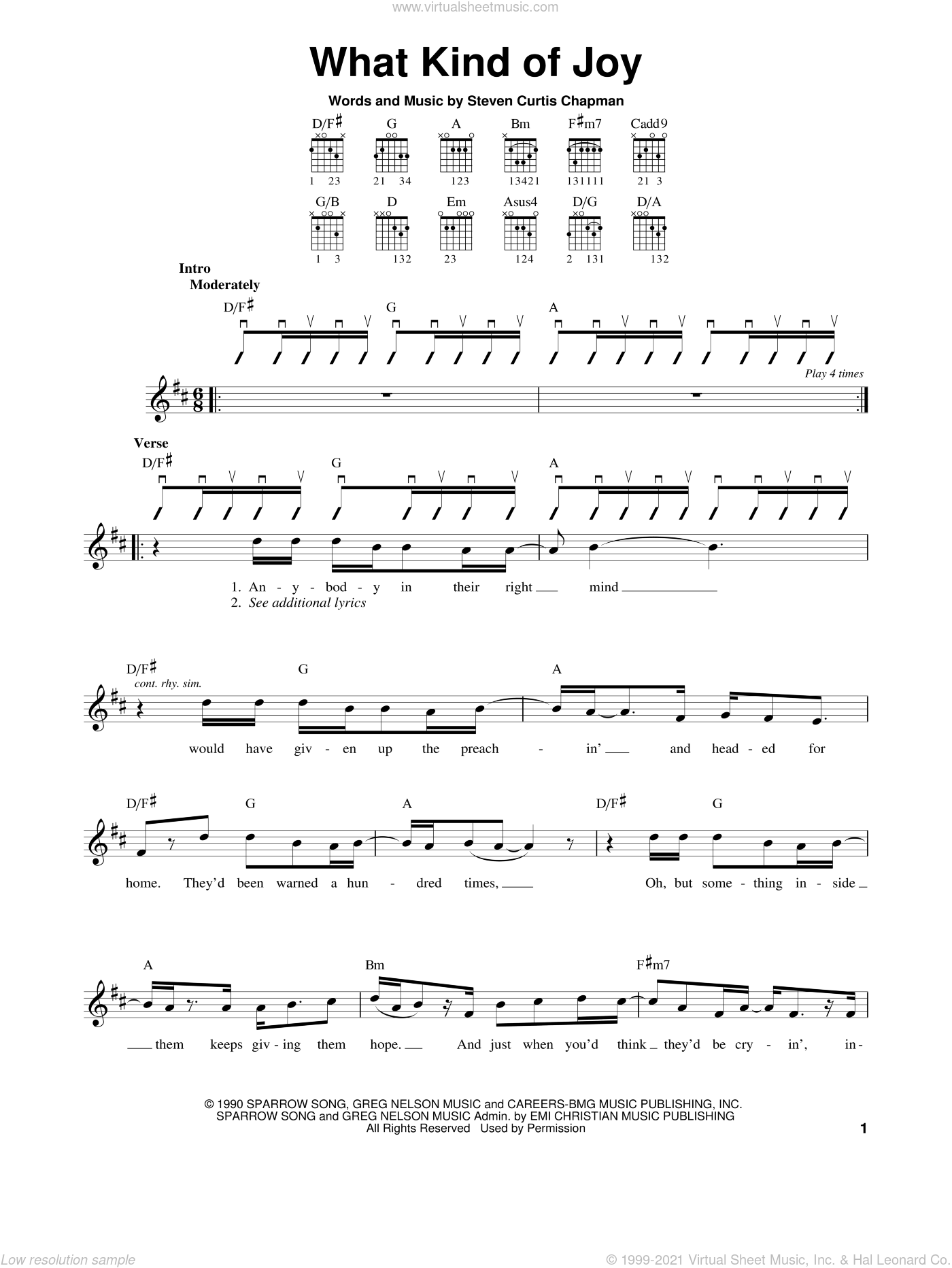 What Kind Of Joy sheet music for guitar solo (chords) by Steven Curtis Chapman, easy guitar (chords)