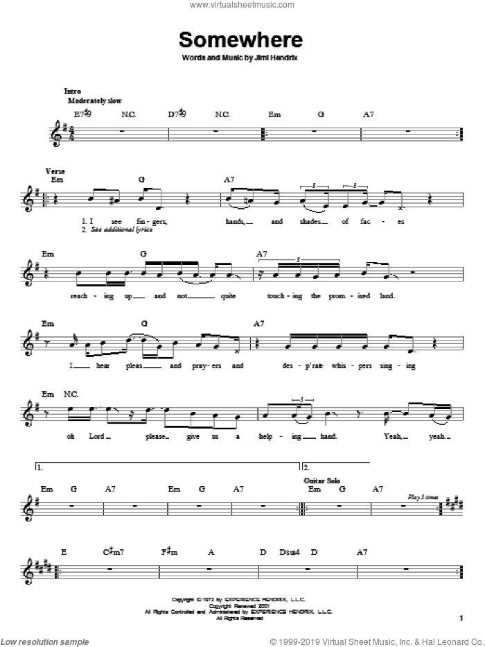 Somewhere sheet music for guitar solo (chords) by Jimi Hendrix, easy guitar (chords)