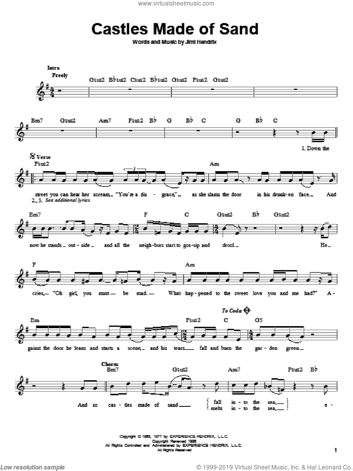 Castles Made Of Sand sheet music for guitar solo (chords) by Jimi Hendrix, easy guitar (chords)
