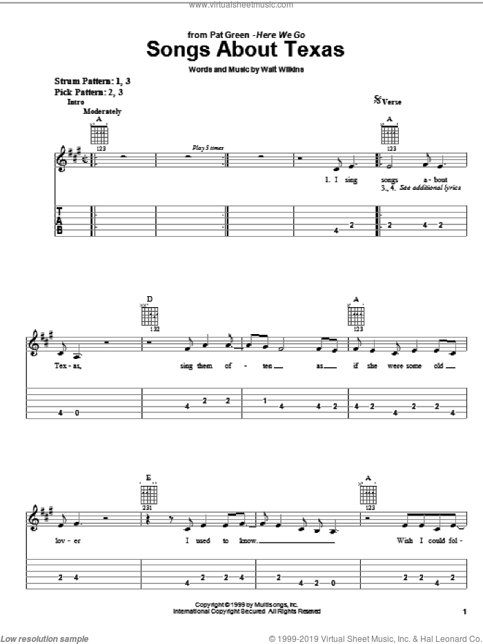 Songs About Texas sheet music for guitar solo (easy tablature) by Walt Wilkins and Pat Green. Score Image Preview.
