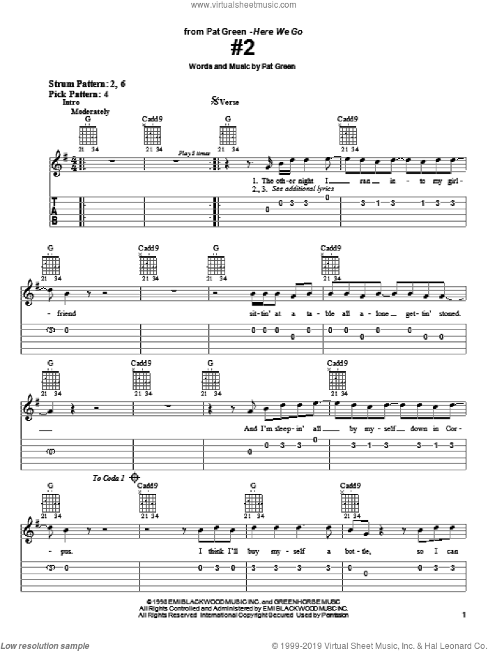 #2 sheet music for guitar solo (easy tablature) by Pat Green, easy guitar (easy tablature)
