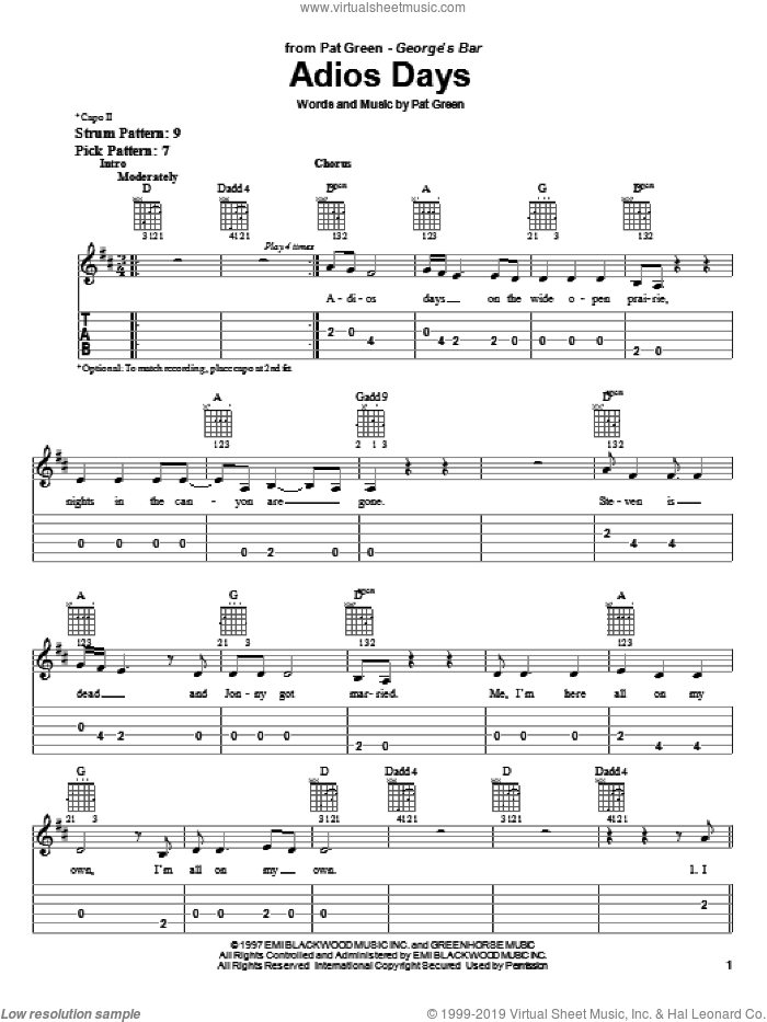 Adios Days sheet music for guitar solo (easy tablature) by Pat Green. Score Image Preview.