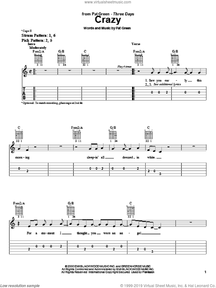 Crazy sheet music for guitar solo (easy tablature) by Pat Green. Score Image Preview.