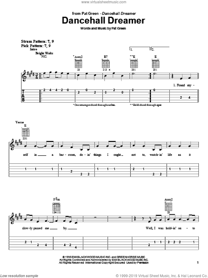 Dancehall Dreamer sheet music for guitar solo (easy tablature) by Pat Green. Score Image Preview.