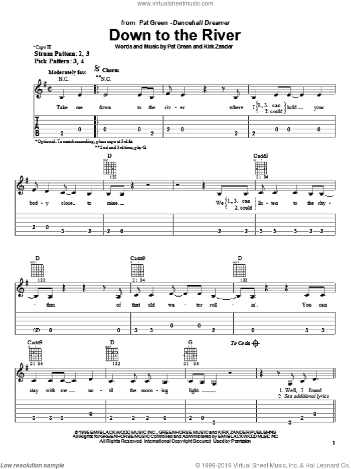 Down To The River sheet music for guitar solo (easy tablature) by Kirk Zander and Pat Green. Score Image Preview.
