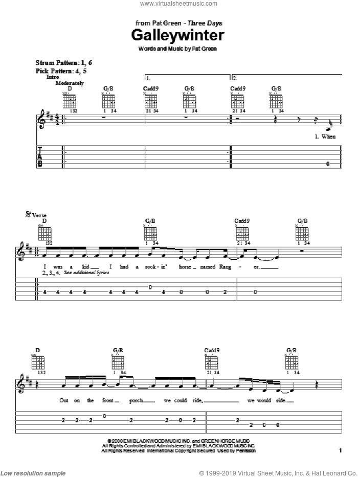 Galleywinter sheet music for guitar solo (easy tablature) by Pat Green. Score Image Preview.