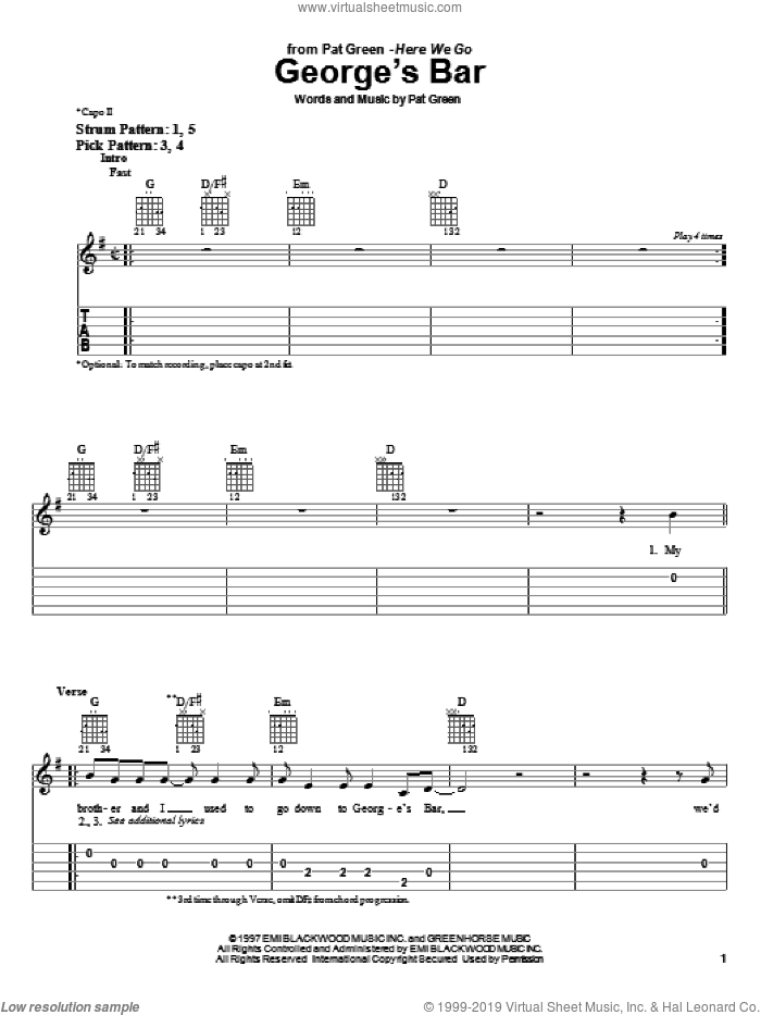 George's Bar sheet music for guitar solo (easy tablature) by Pat Green. Score Image Preview.