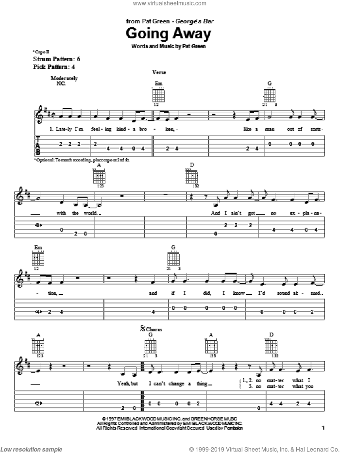 Going Away sheet music for guitar solo (easy tablature) by Pat Green, easy guitar (easy tablature). Score Image Preview.