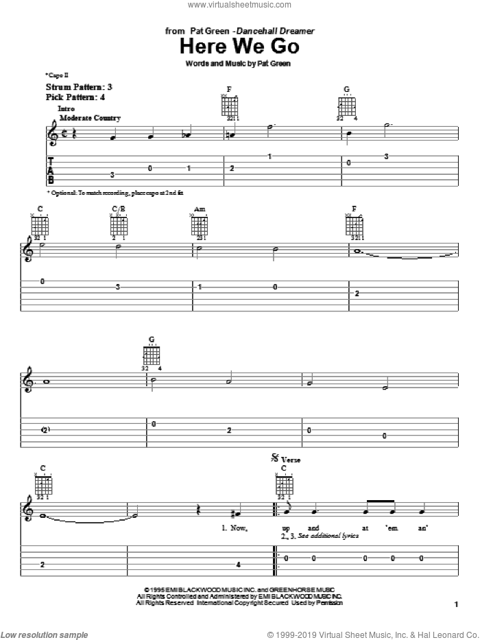 Here We Go sheet music for guitar solo (easy tablature) by Pat Green, easy guitar (easy tablature)