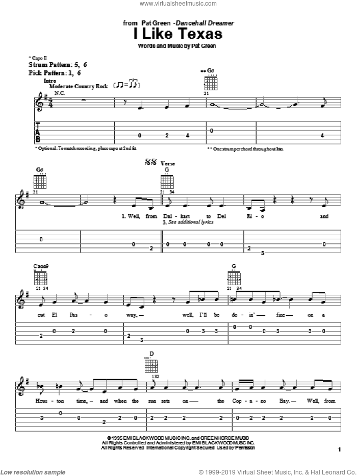I Like Texas sheet music for guitar solo (easy tablature) by Pat Green. Score Image Preview.