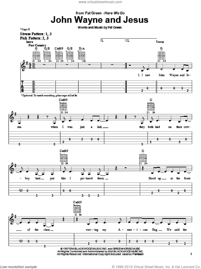 John Wayne And Jesus sheet music for guitar solo (easy tablature) by Pat Green, easy guitar (easy tablature)