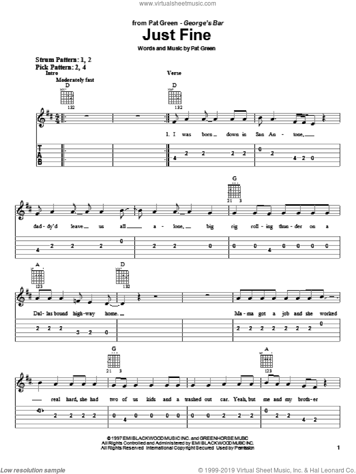 Just Fine sheet music for guitar solo (easy tablature) by Pat Green. Score Image Preview.