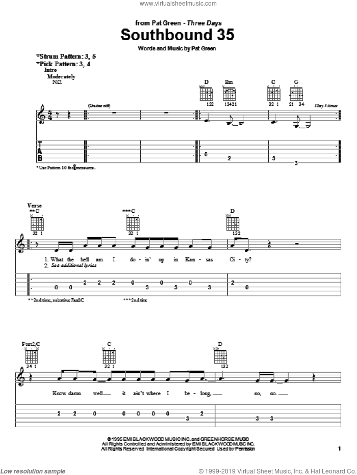 Southbound 35 sheet music for guitar solo (easy tablature) by Pat Green, easy guitar (easy tablature). Score Image Preview.