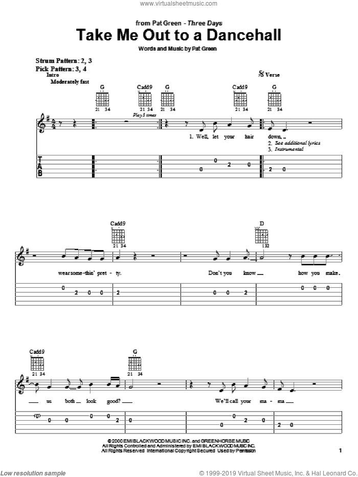 Take Me Out To A Dancehall sheet music for guitar solo (easy tablature) by Pat Green, easy guitar (easy tablature)