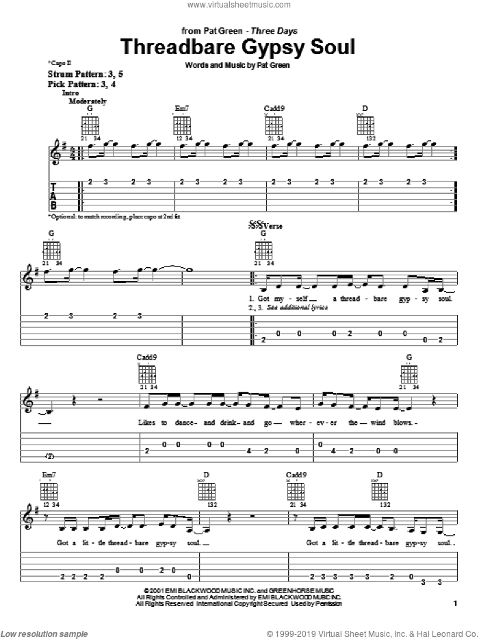 Threadbare Gypsy Soul sheet music for guitar solo (easy tablature) by Pat Green, easy guitar (easy tablature)