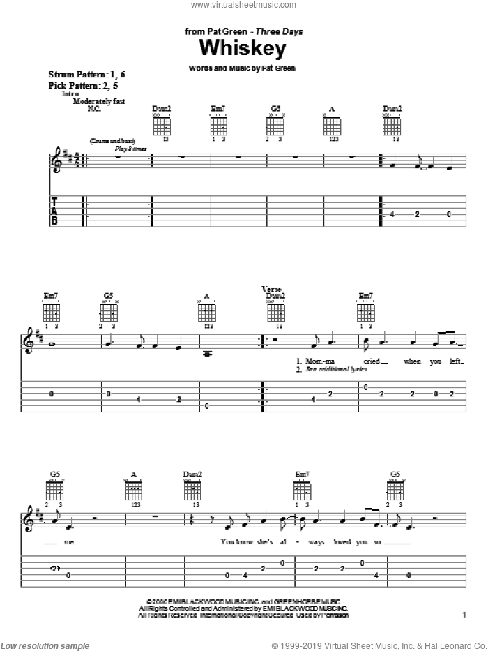 Whiskey sheet music for guitar solo (easy tablature) by Pat Green, easy guitar (easy tablature). Score Image Preview.