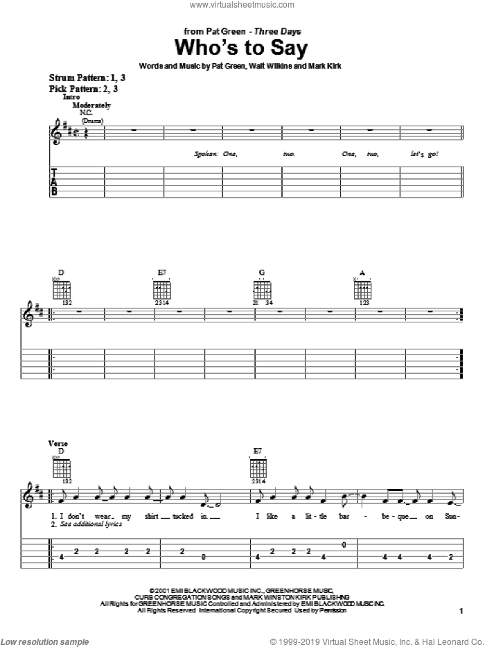 Who's To Say sheet music for guitar solo (easy tablature) by Pat Green, Mark Kirk and Walt Wilkins, easy guitar (easy tablature). Score Image Preview.