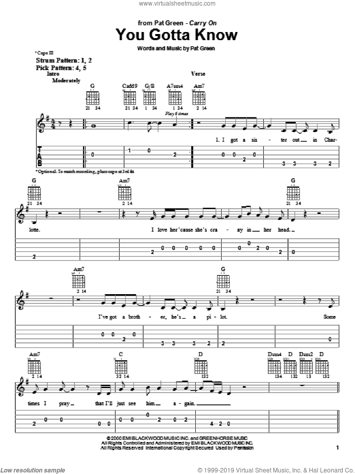 You Gotta Know sheet music for guitar solo (easy tablature) by Pat Green, easy guitar (easy tablature)