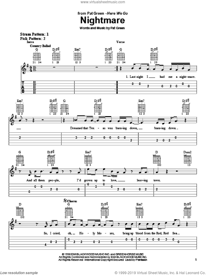 Nightmare sheet music for guitar solo (easy tablature) by Pat Green, easy guitar (easy tablature). Score Image Preview.