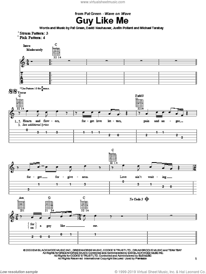Guy Like Me sheet music for guitar solo (easy tablature) by David Neuhauser and Pat Green. Score Image Preview.