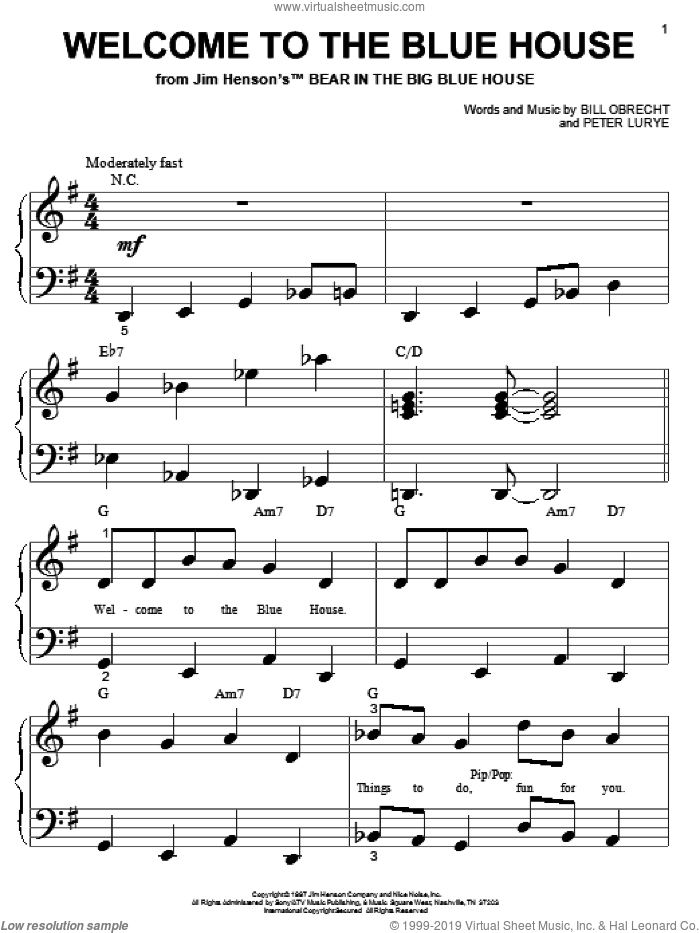 Welcome To The Blue House sheet music for piano solo (big note book) by Bill Obrecht and Peter Lurye, easy piano (big note book). Score Image Preview.