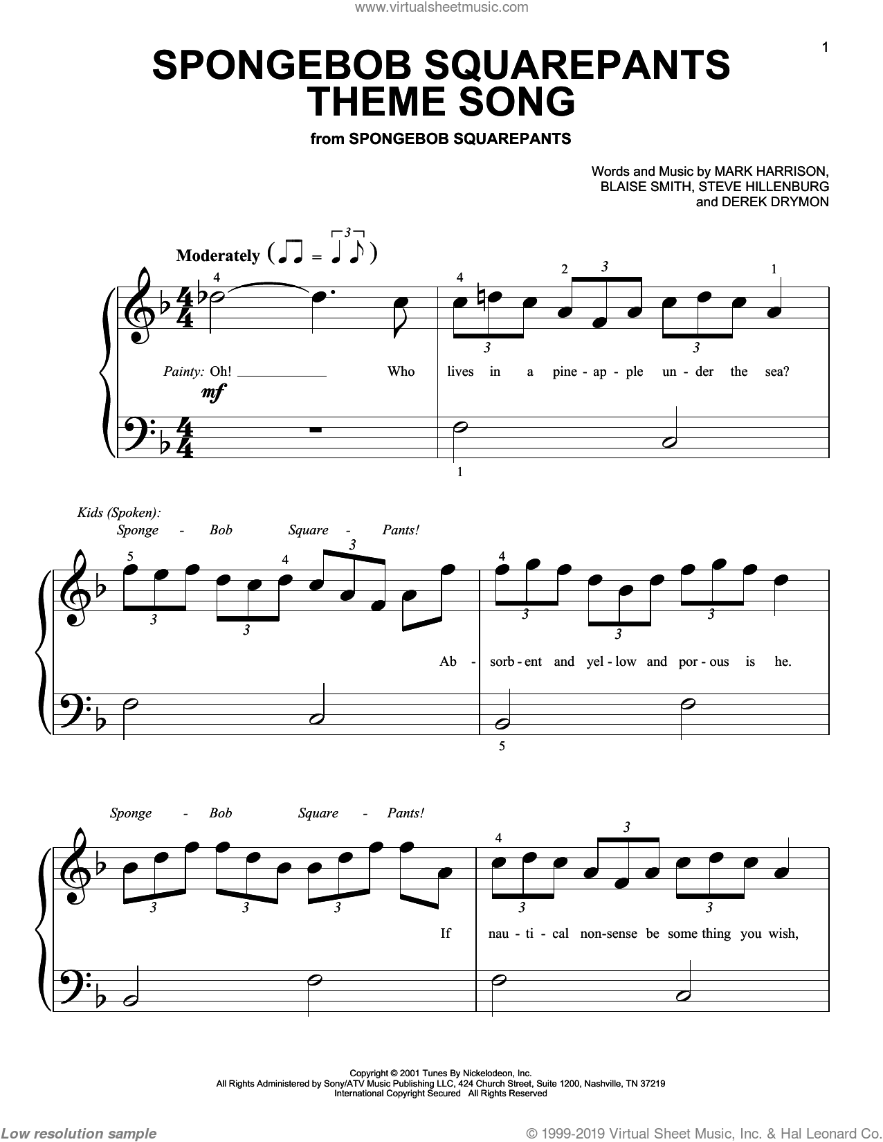 SpongeBob SquarePants Theme Song sheet music for piano solo (big note book) by Mark Harrison, Blaise Smith and Steve Hillenburg, easy piano (big note book)