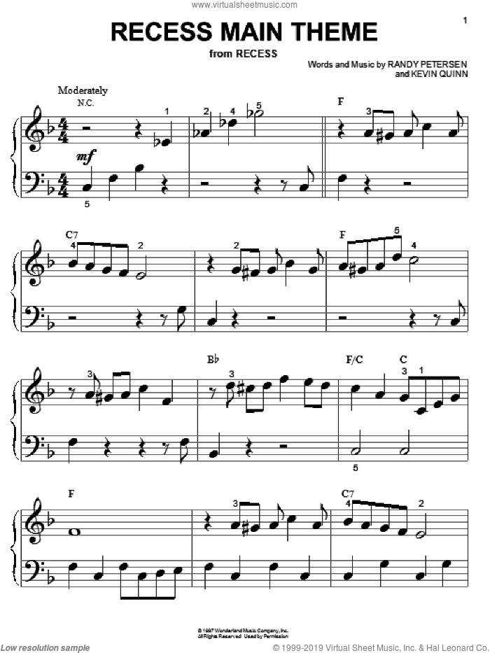 Recess Main Theme sheet music for piano solo (big note book) by Randy Petersen and Kevin Quinn, easy piano (big note book)