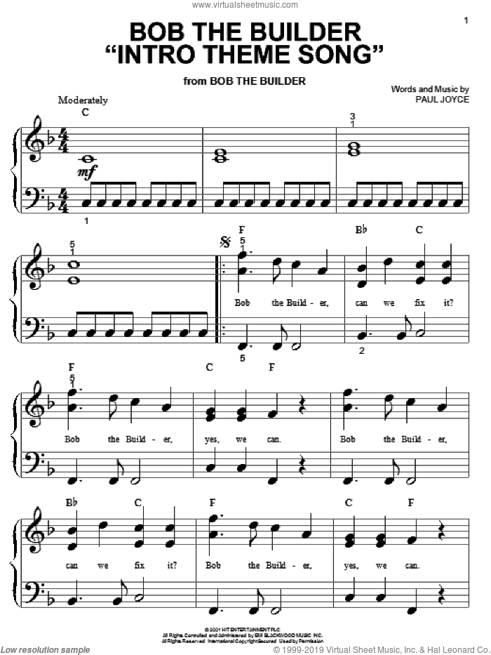 Bob The Builder 'Intro Theme Song' sheet music for piano solo (big note book) by Paul Joyce, easy piano (big note book)