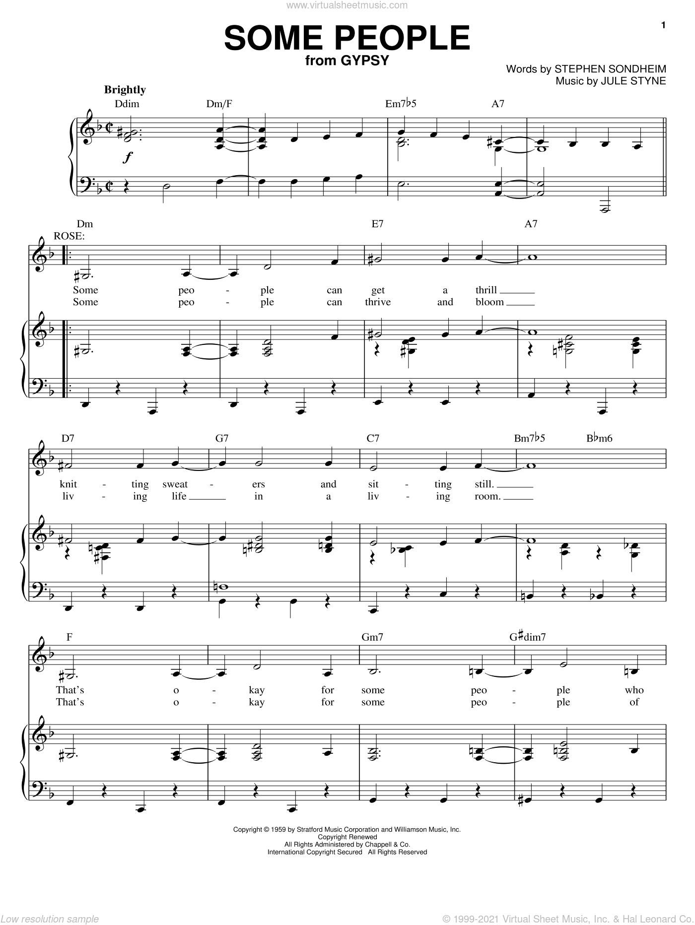 Some People sheet music for voice and piano by Stephen Sondheim, Gypsy (Musical) and Jule Styne, intermediate skill level