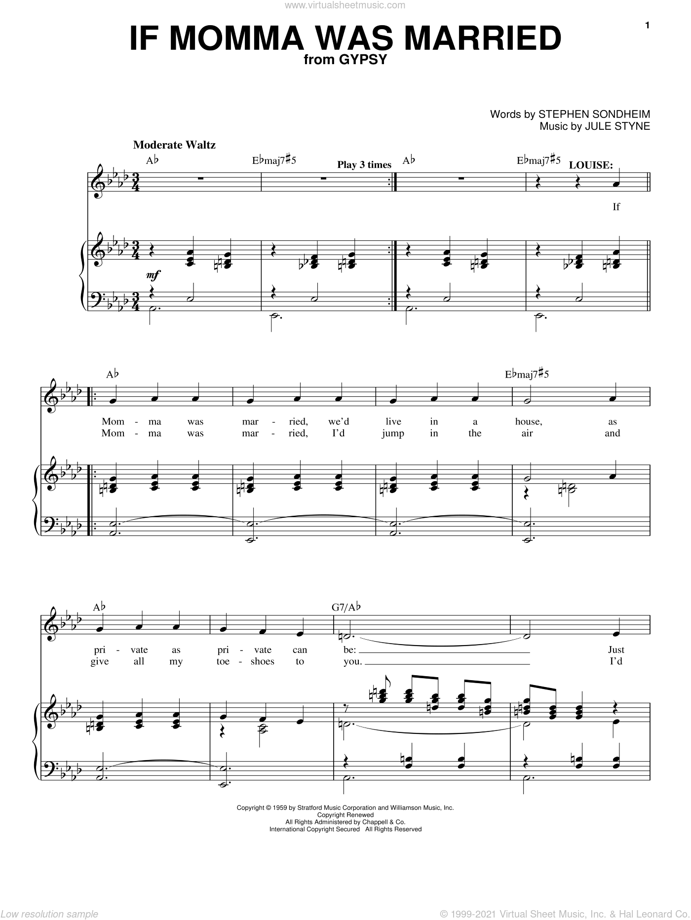 If Momma Was Married sheet music for voice and piano by Stephen Sondheim, Gypsy (Musical) and Jule Styne, intermediate skill level