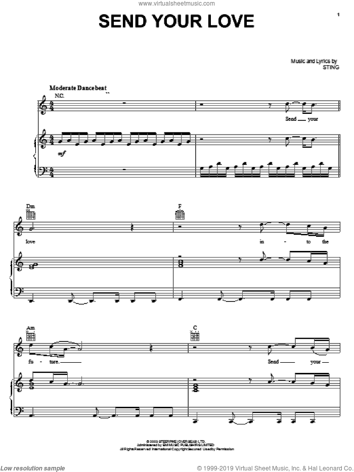 Send Your Love sheet music for voice, piano or guitar by Sting. Score Image Preview.