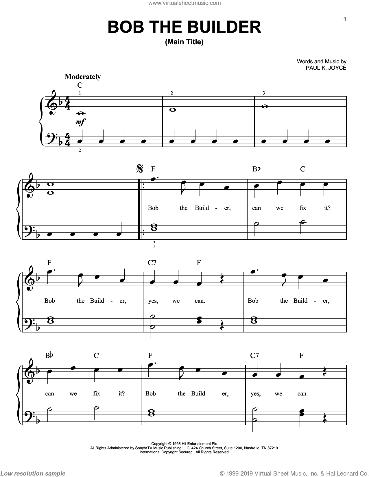 Bob The Builder 'Intro Theme Song' sheet music for piano solo by Paul Joyce, easy skill level