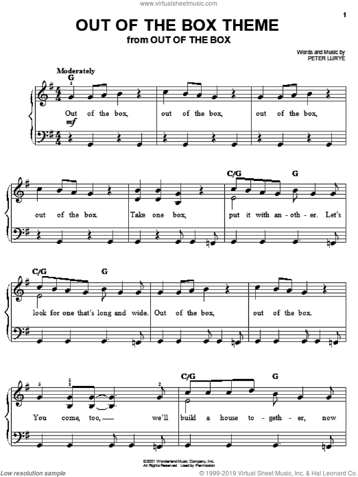 Out Of The Box Theme sheet music for piano solo by Peter Lurye, easy skill level