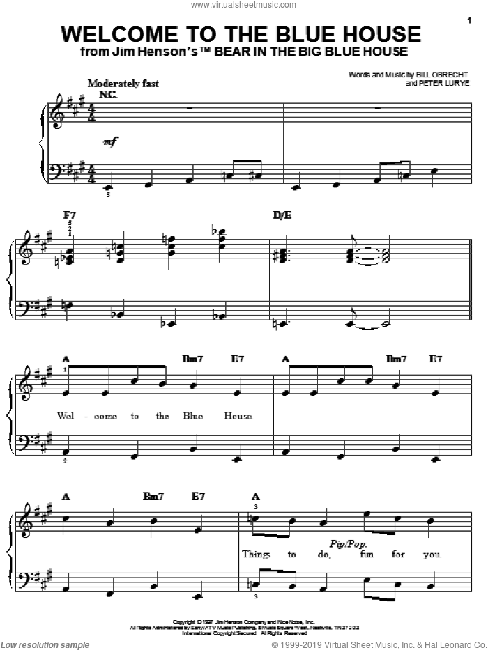 Welcome To The Blue House sheet music for piano solo by Bill Obrecht and Peter Lurye, easy skill level
