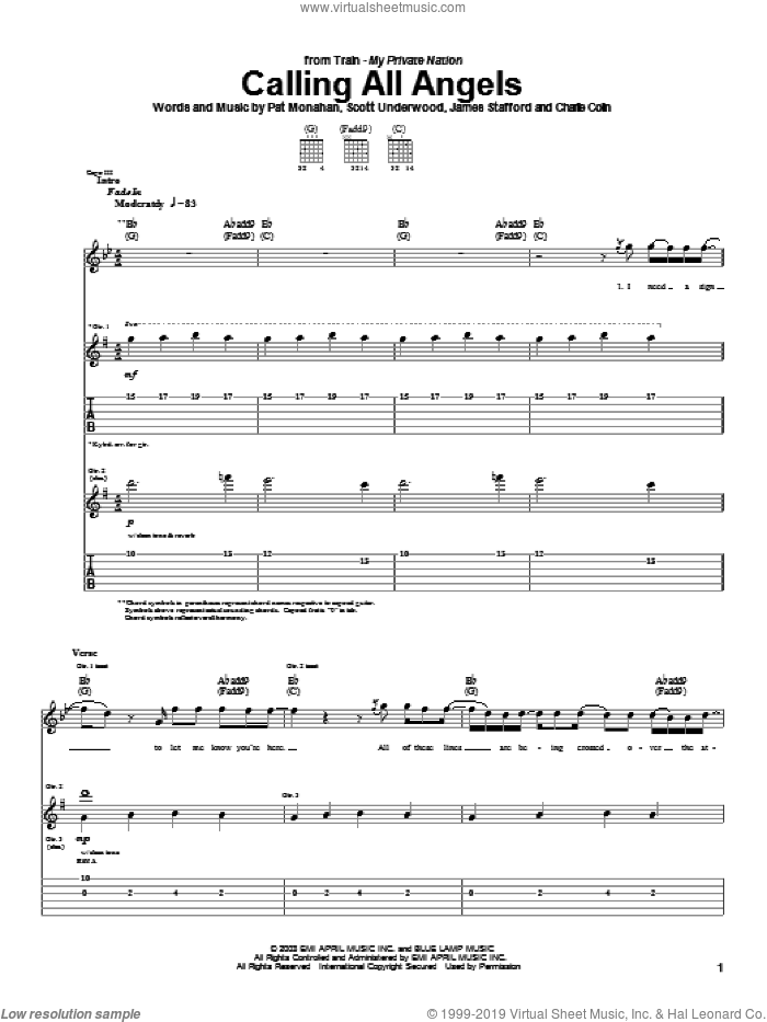 Calling All Angels sheet music for guitar (tablature) by Scott Underwood, Train and Pat Monahan