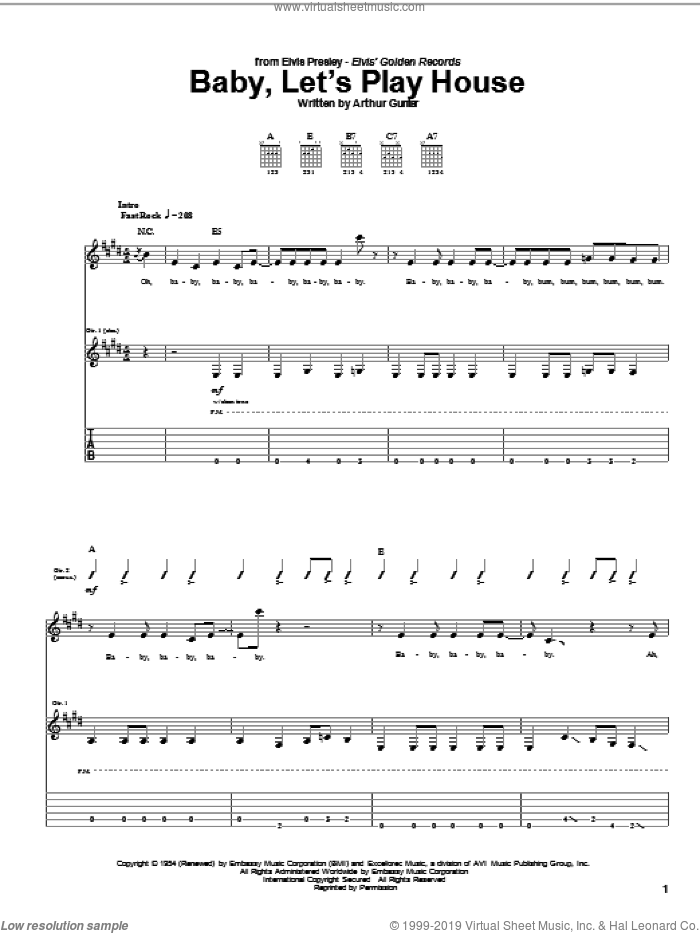 Baby, Let's Play House sheet music for guitar (tablature) by Elvis Presley and Arthur Gunter, intermediate skill level
